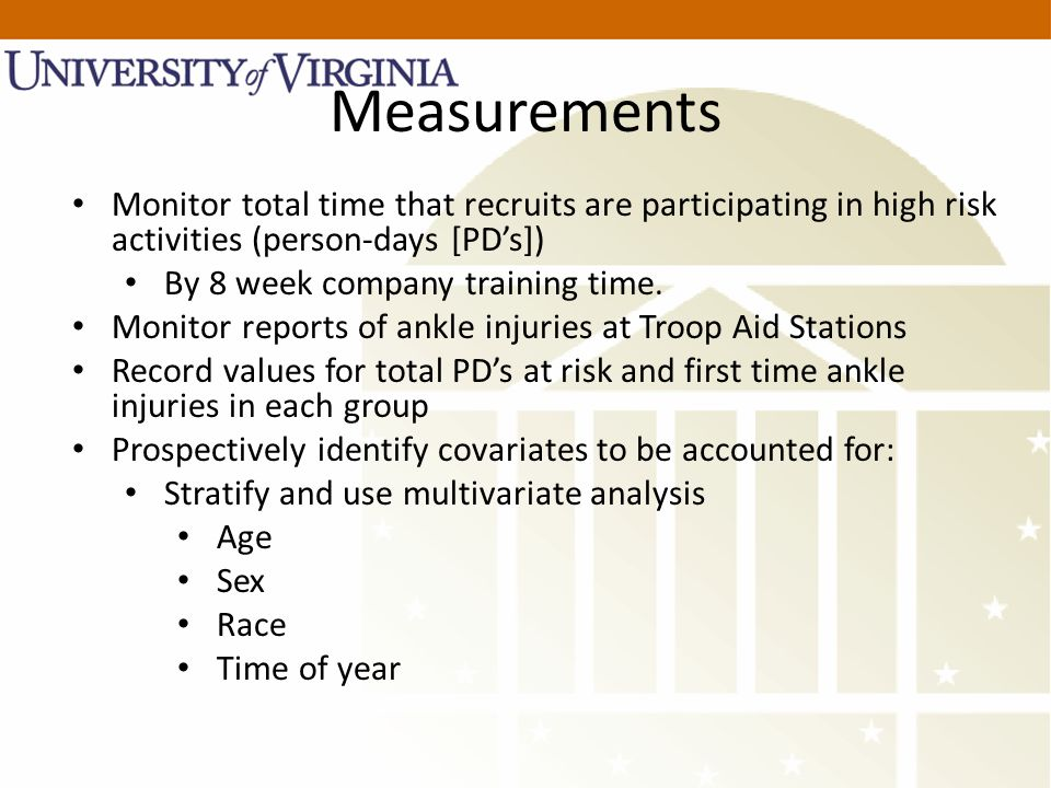 Measurements Monitor total time that recruits are participating in high risk activities (person-days [PD's]) By 8 week company training time.