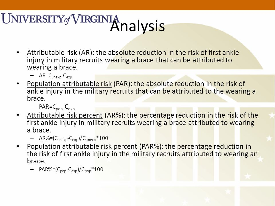 Analysis Attributable risk (AR): the absolute reduction in the risk of first ankle injury in military recruits wearing a brace that can be attributed to wearing a brace.