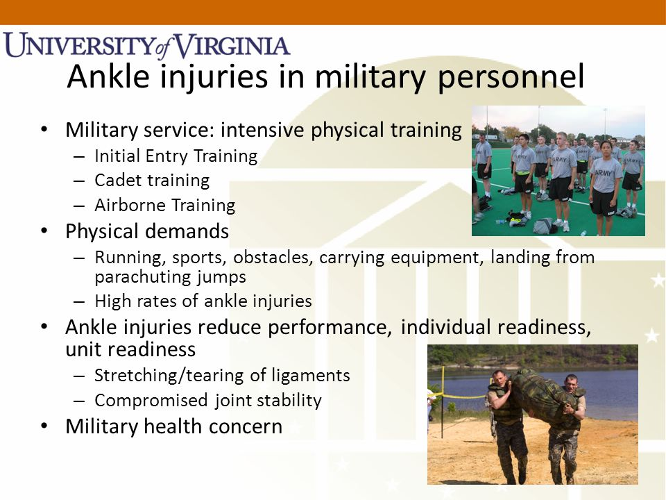 Ankle injuries in military personnel Military service: intensive physical training – Initial Entry Training – Cadet training – Airborne Training Physi
