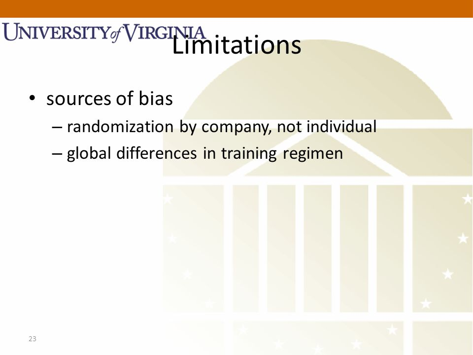 23 Limitations sources of bias – randomization by company, not individual – global differences in training regimen