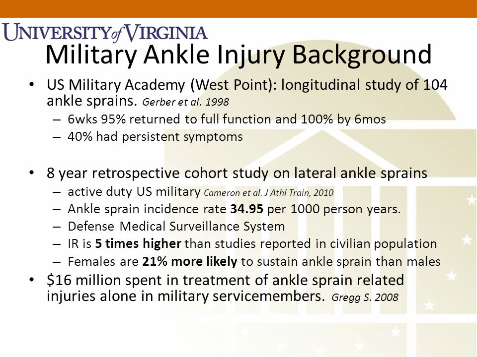 Military Ankle Injury Background US Military Academy (West Point): longitudinal study of 104 ankle sprains.