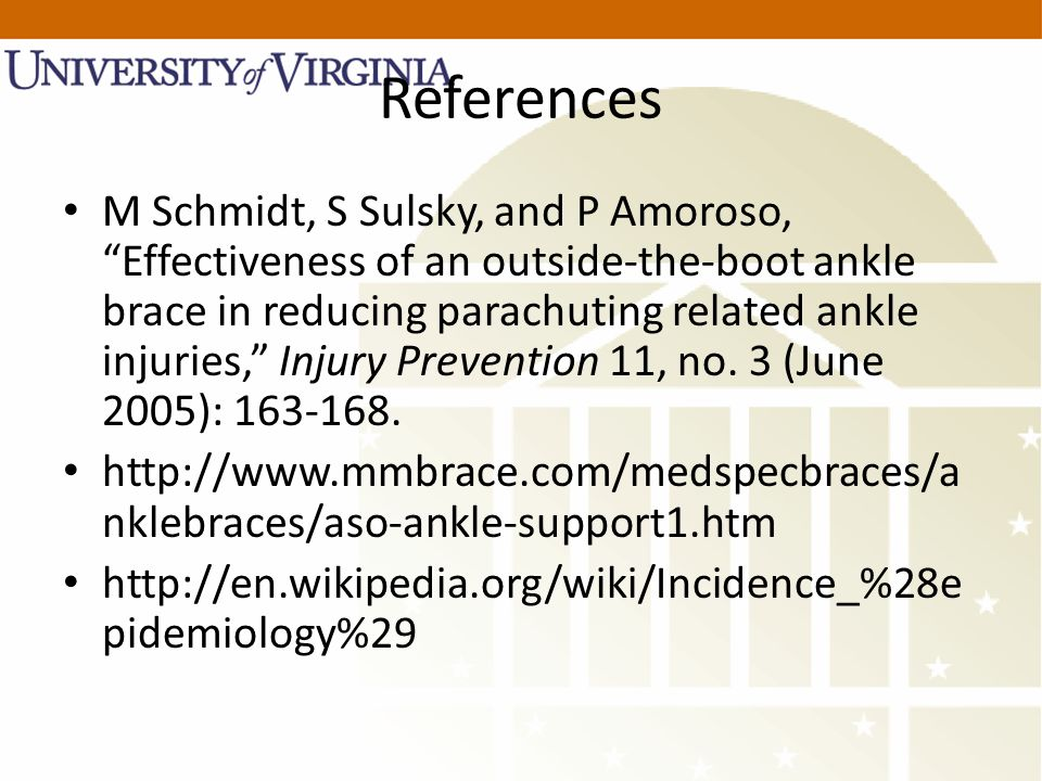 """References M Schmidt, S Sulsky, and P Amoroso, """"Effectiveness of an outside-the-boot ankle brace in reducing parachuting related ankle injuries,"""" Inju"""