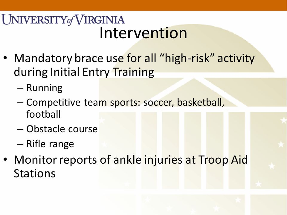 Intervention Mandatory brace use for all high-risk activity during Initial Entry Training – Running – Competitive team sports: soccer, basketball, football – Obstacle course – Rifle range Monitor reports of ankle injuries at Troop Aid Stations