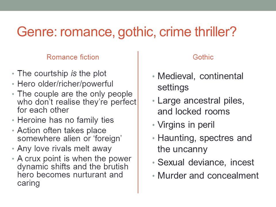 Genre: romance, gothic, crime thriller.