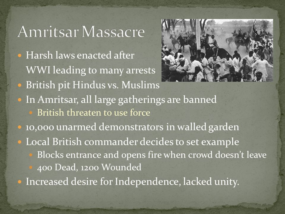 Harsh laws enacted after WWI leading to many arrests British pit Hindus vs.