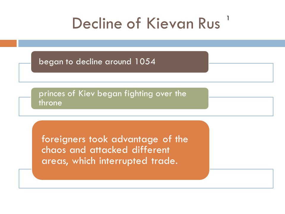 Decline of Kievan Rus began to decline around 1054 princes of Kiev began fighting over the throne foreigners took advantage of the chaos and attacked