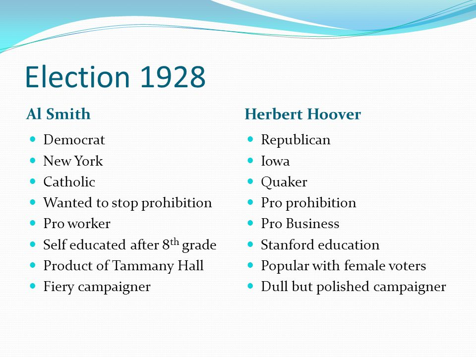 Election 1928 Al Smith Herbert Hoover Democrat New York Catholic Wanted to stop prohibition Pro worker Self educated after 8 th grade Product of Tammany Hall Fiery campaigner Republican Iowa Quaker Pro prohibition Pro Business Stanford education Popular with female voters Dull but polished campaigner