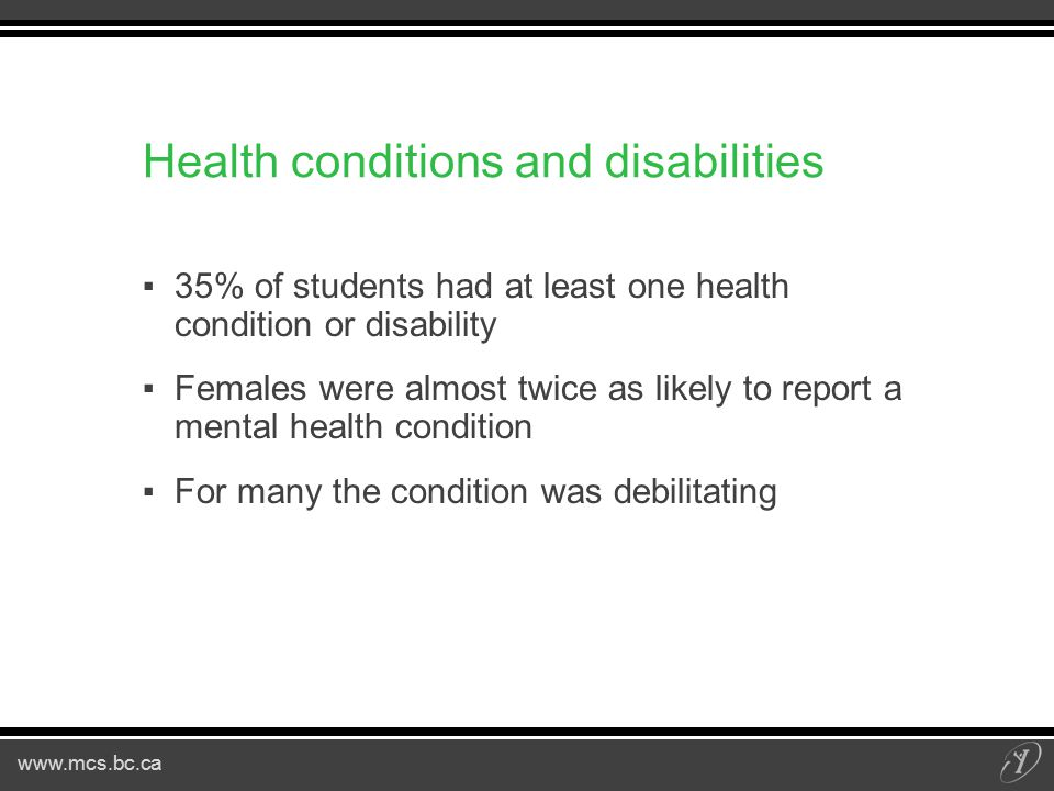 www.mcs.bc.ca Health conditions and disabilities ▪35% of students had at least one health condition or disability ▪Females were almost twice as likely to report a mental health condition ▪For many the condition was debilitating