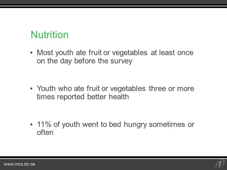 www.mcs.bc.ca Nutrition ▪Most youth ate fruit or vegetables at least once on the day before the survey ▪Youth who ate fruit or vegetables three or more times reported better health ▪11% of youth went to bed hungry sometimes or often