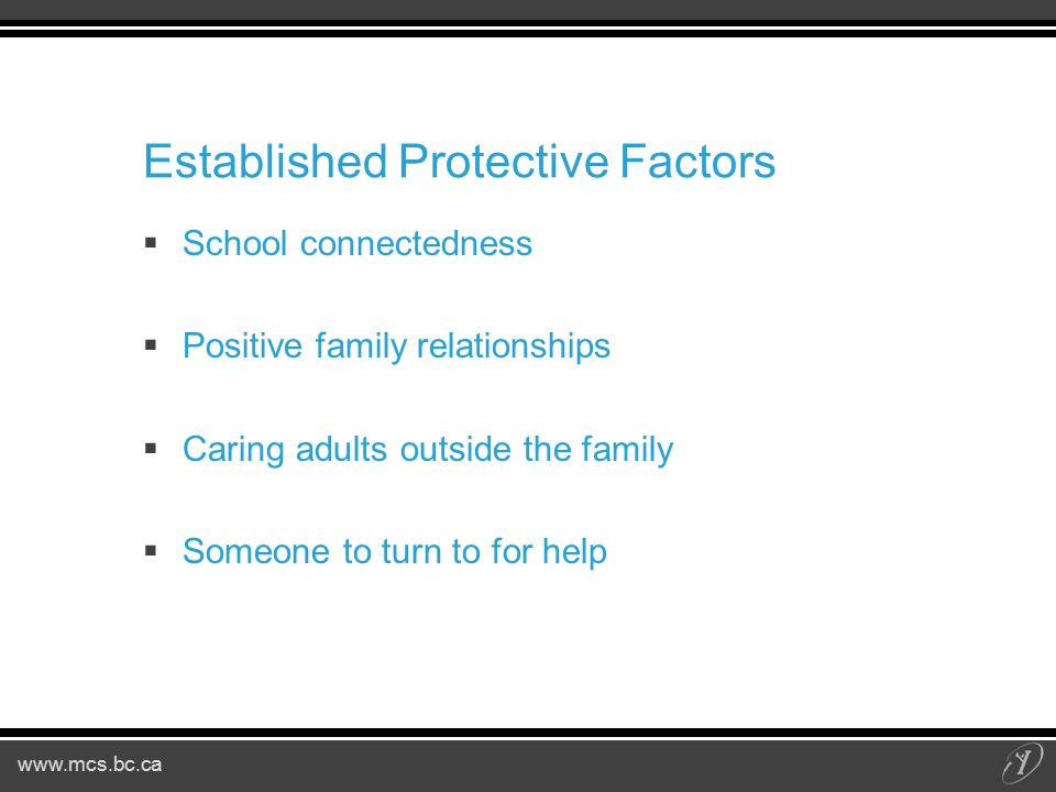 www.mcs.bc.ca Established Protective Factors  School connectedness  Positive family relationships  Caring adults outside the family  Someone to turn to for help