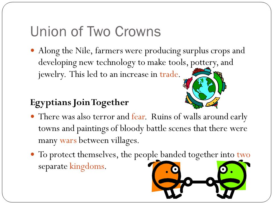 Union of Two Crowns- Egyptians Join Together Towns in Upper Egypt (which were located in the south) supported a king who wore a white crown.