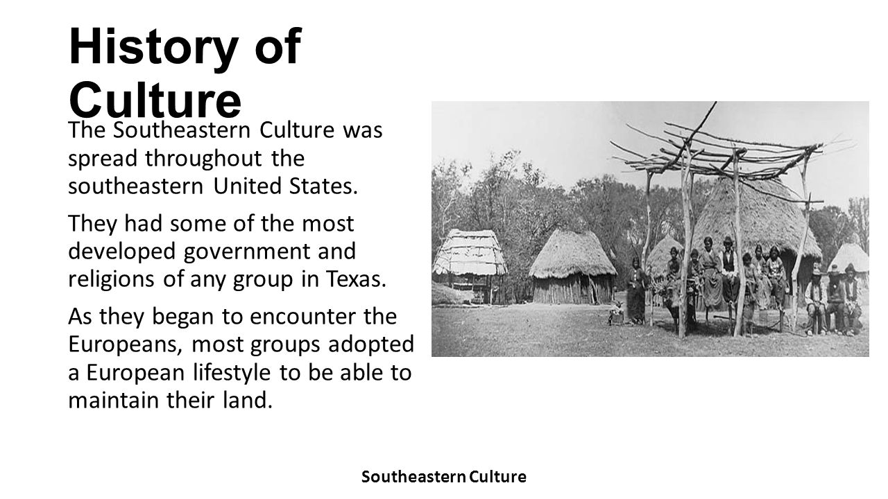 History of Culture The Southeastern Culture was spread throughout the southeastern United States. They had some of the most developed government and r