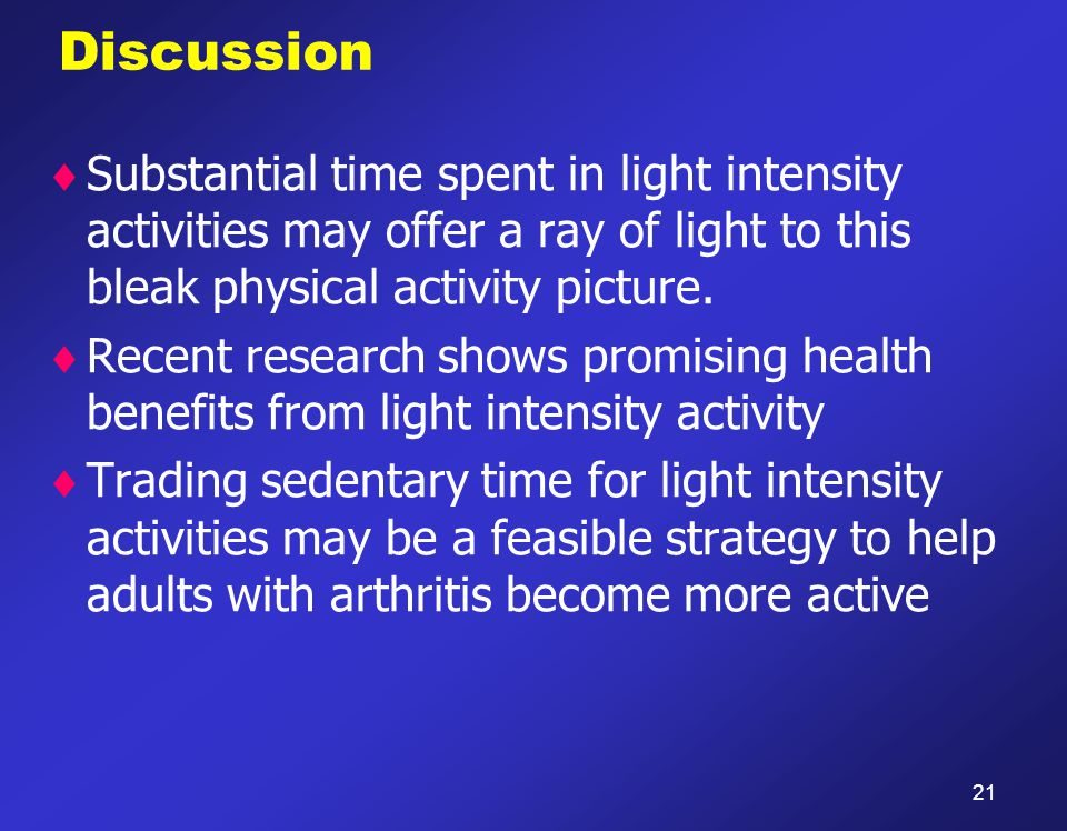 Discussion  Substantial time spent in light intensity activities may offer a ray of light to this bleak physical activity picture.