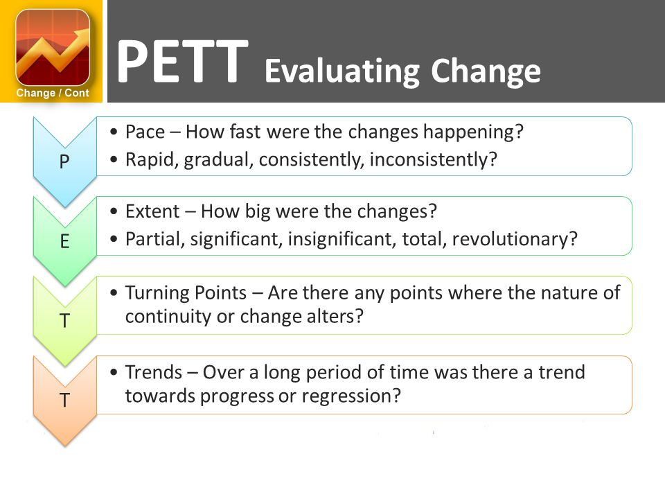 P Pace – How fast were the changes happening.Rapid, gradual, consistently, inconsistently.