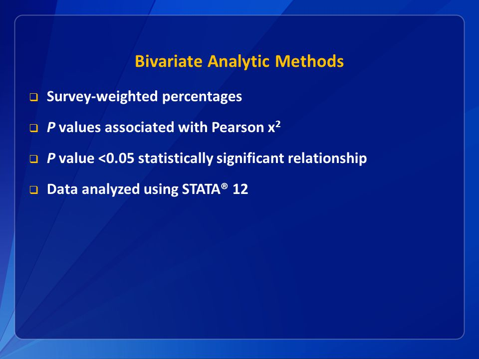 Bivariate Analytic Methods  Survey-weighted percentages  P values associated with Pearson x 2  P value <0.05 statistically significant relationship  Data analyzed using STATA® 12