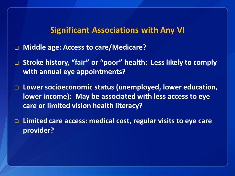 Significant Associations with Any VI  Middle age: Access to care/Medicare.