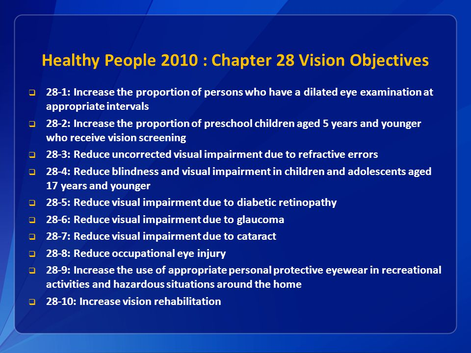 Healthy People 2010 : Chapter 28 Vision Objectives  28-1: Increase the proportion of persons who have a dilated eye examination at appropriate intervals  28-2: Increase the proportion of preschool children aged 5 years and younger who receive vision screening  28-3: Reduce uncorrected visual impairment due to refractive errors  28-4: Reduce blindness and visual impairment in children and adolescents aged 17 years and younger  28-5: Reduce visual impairment due to diabetic retinopathy  28-6: Reduce visual impairment due to glaucoma  28-7: Reduce visual impairment due to cataract  28-8: Reduce occupational eye injury  28-9: Increase the use of appropriate personal protective eyewear in recreational activities and hazardous situations around the home  28-10: Increase vision rehabilitation