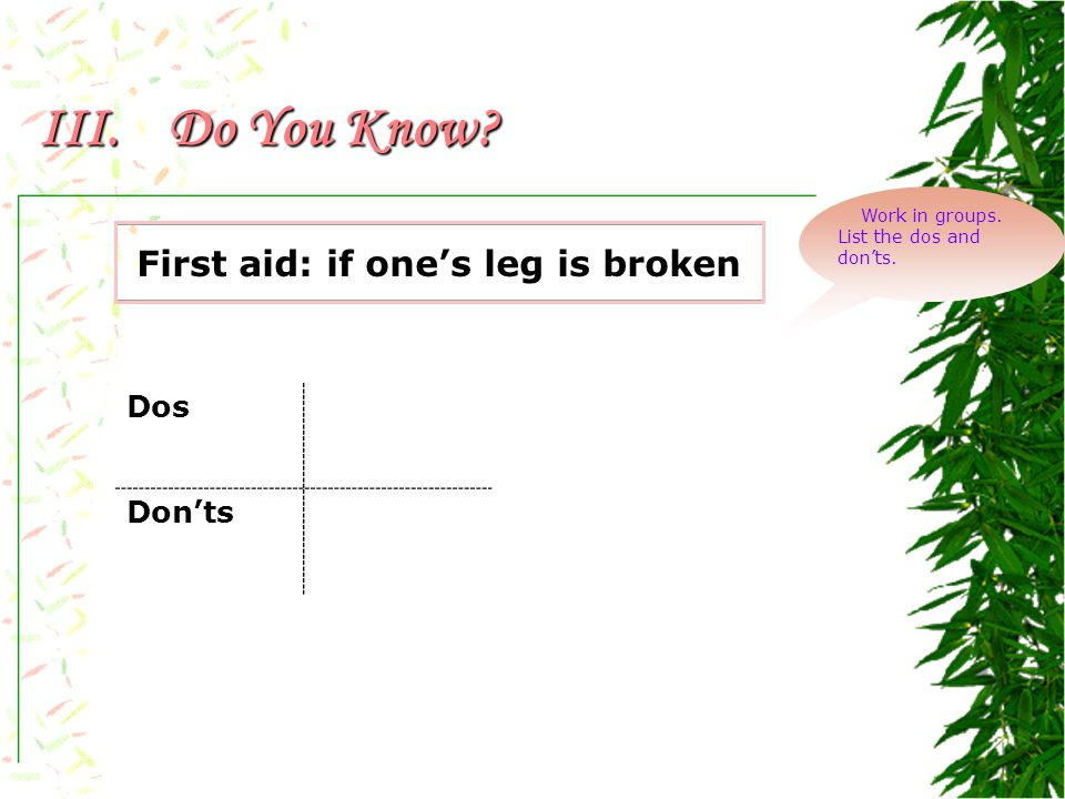 III.Do You Know? First aid: if a big artery becomes open Discuss in groups. Dos Don'ts