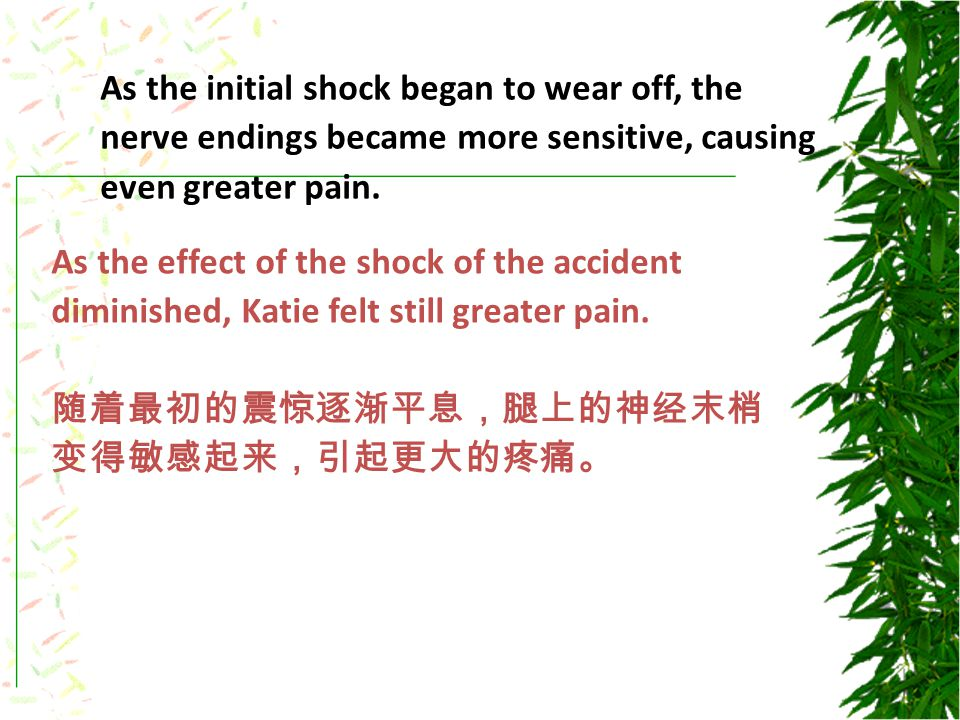 As the initial shock began to wear off, the nerve endings became more sensitive, causing even greater pain.