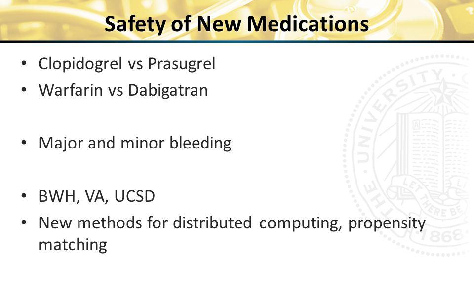 Safety of New Medications Clopidogrel vs Prasugrel Warfarin vs Dabigatran Major and minor bleeding BWH, VA, UCSD New methods for distributed computing, propensity matching 26