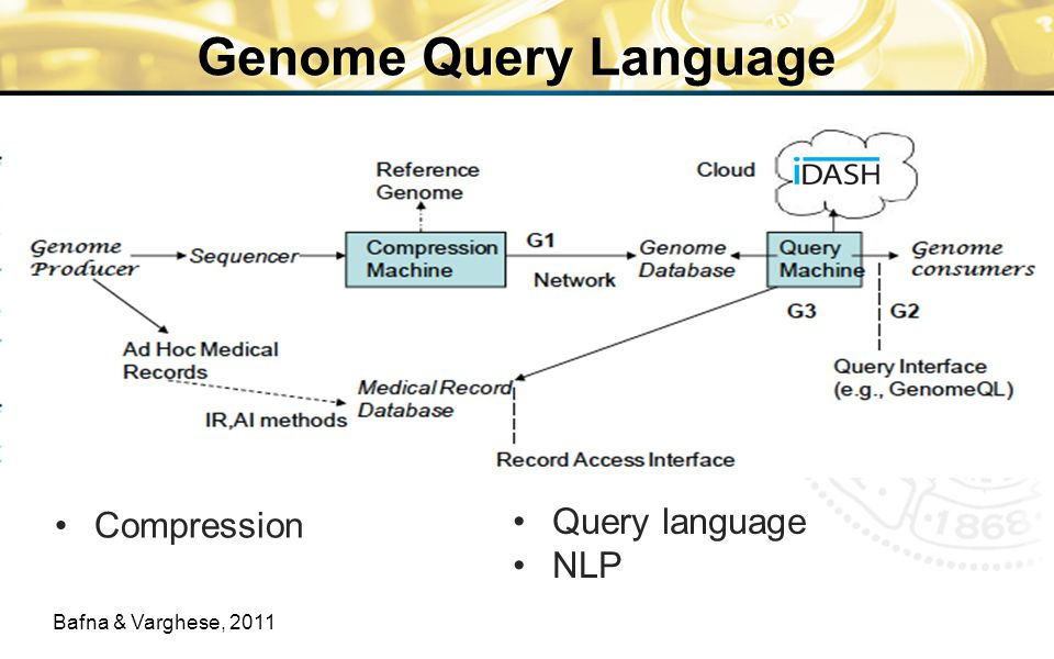 Genome Query Language Compression Bafna & Varghese, 2011 Query language NLP