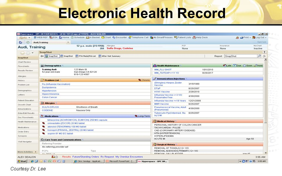 Electronic Health Record Courtesy Dr. Lee