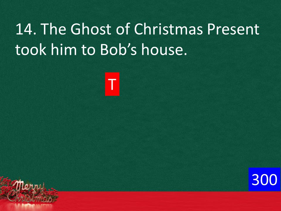 14. The Ghost of Christmas Present took him to Bob's house. T 300