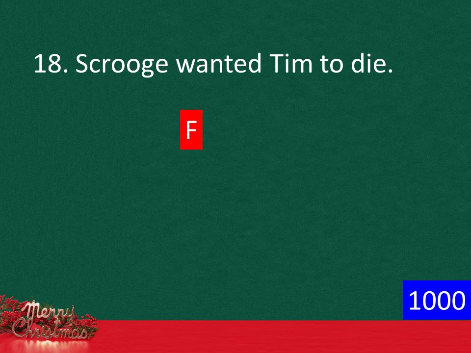 18. Scrooge wanted Tim to die. F 1000