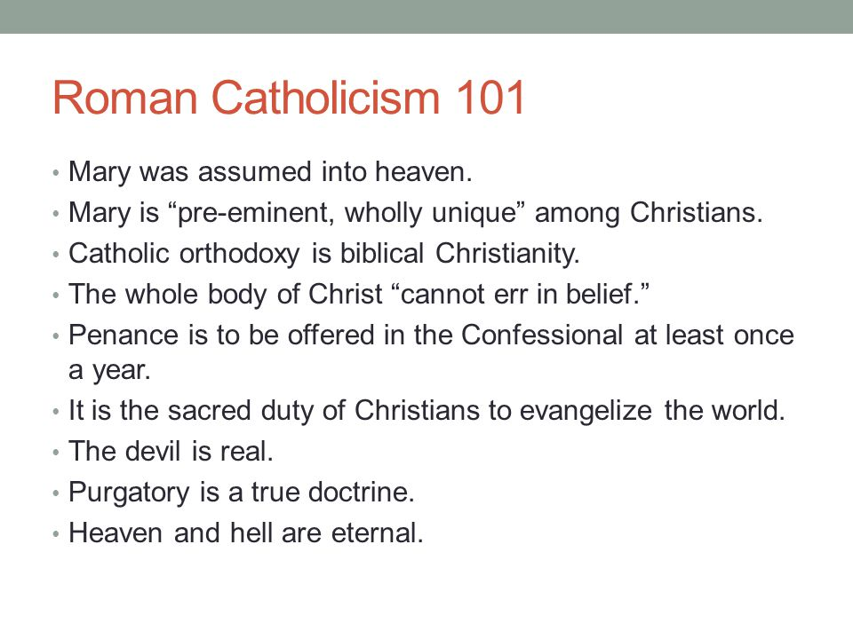 """Roman Catholicism 101 Mary was assumed into heaven. Mary is """"pre-eminent, wholly unique"""" among Christians. Catholic orthodoxy is biblical Christianity"""