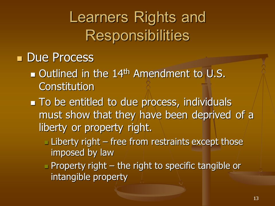 13 Learners Rights and Responsibilities Due Process Due Process Outlined in the 14 th Amendment to U.S.