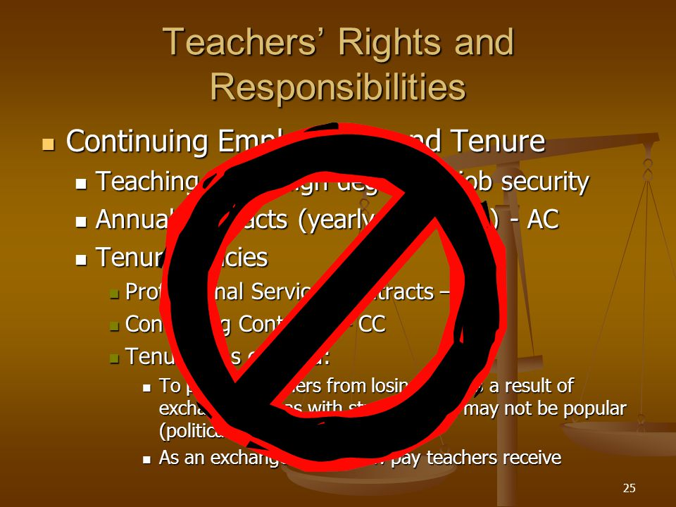25 Teachers' Rights and Responsibilities Continuing Employment and Tenure Continuing Employment and Tenure Teaching has a high degree of job security