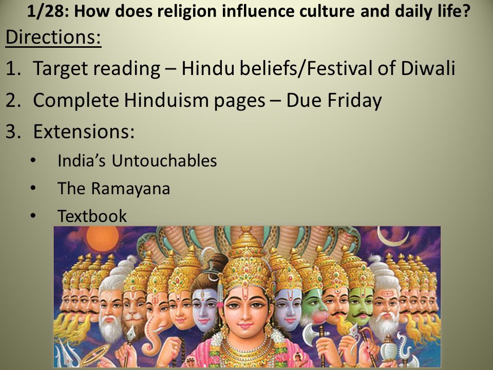 1/28: How does religion influence culture and daily life.