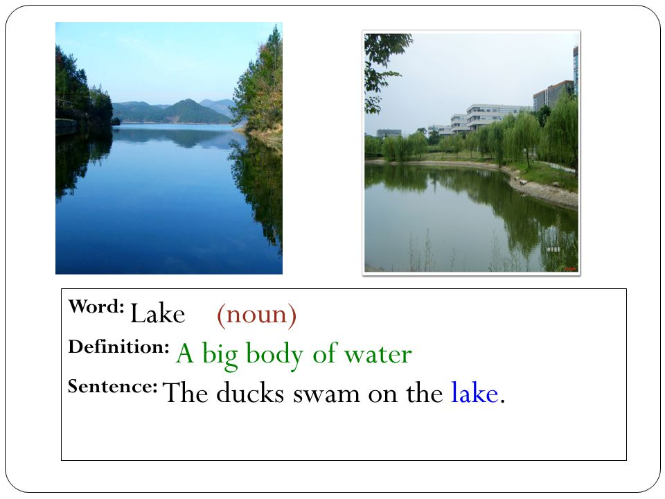 Word: Lake (noun) Definition: A big body of water Sentence: The ducks swam on the lake.
