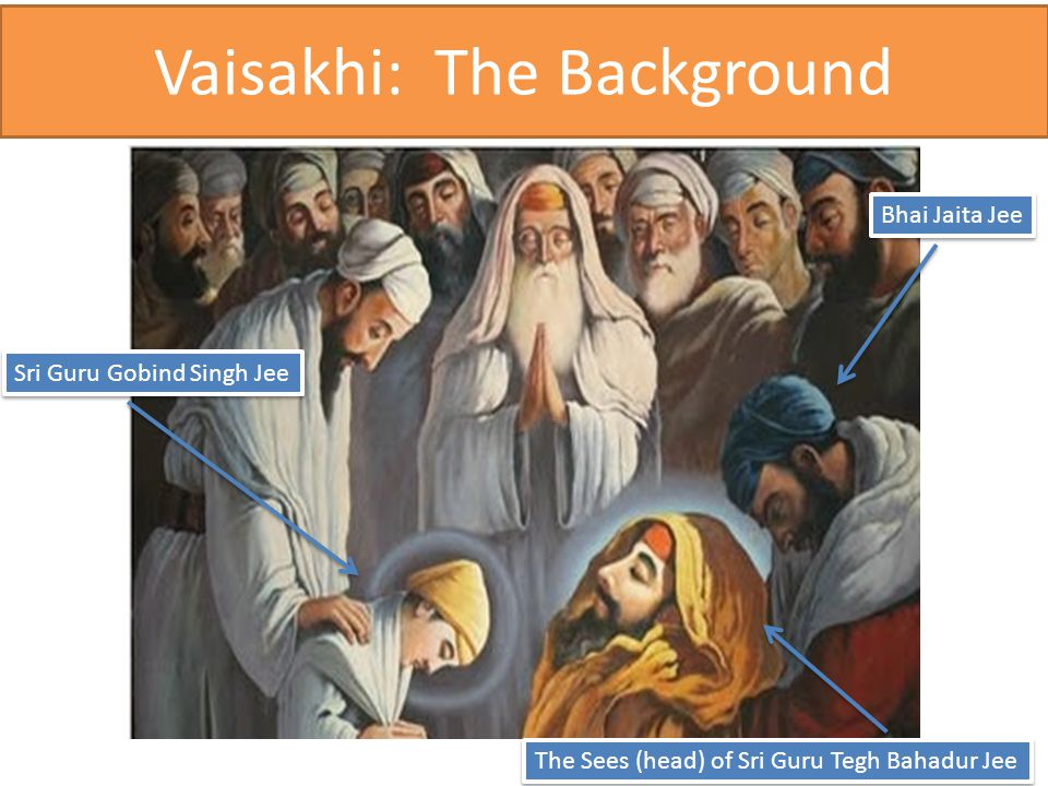 Vaisakhi: The Background Sri Guru Gobind Singh Jee Bhai Jaita Jee The Sees (head) of Sri Guru Tegh Bahadur Jee