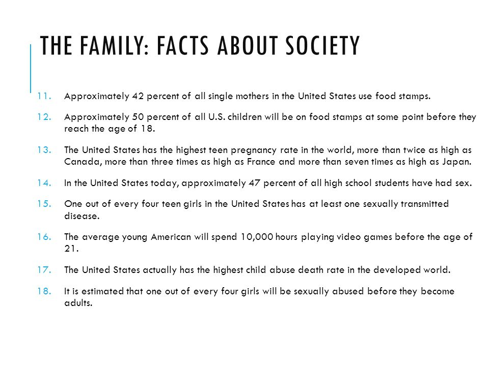 THE FAMILY: FACTS ABOUT SOCIETY 11.Approximately 42 percent of all single mothers in the United States use food stamps.