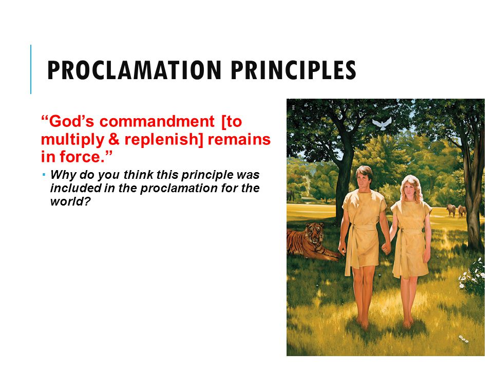 PROCLAMATION PRINCIPLES God's commandment [to multiply & replenish] remains in force.  Why do you think this principle was included in the proclamation for the world