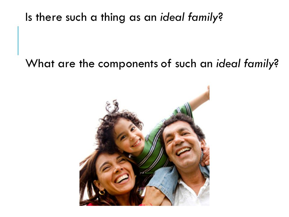 Is there such a thing as an ideal family What are the components of such an ideal family
