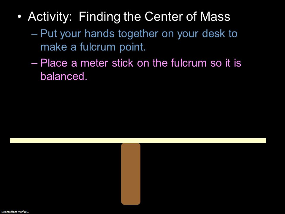 Activity: Finding the Center of Mass –Put your hands together on your desk to make a fulcrum point.