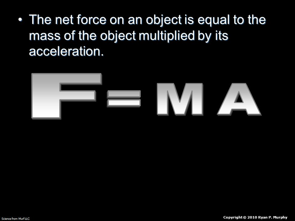 The net force on an object is equal to the mass of the object multiplied by its acceleration.The net force on an object is equal to the mass of the object multiplied by its acceleration.