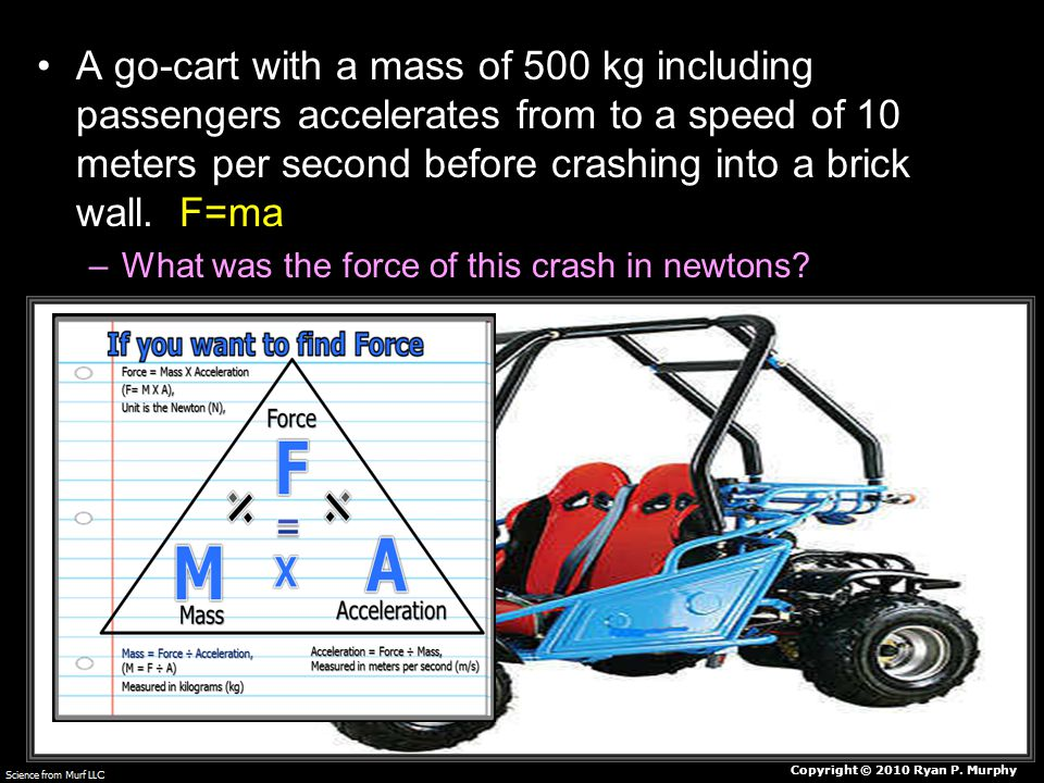 A go-cart with a mass of 500 kg including passengers accelerates from to a speed of 10 meters per second before crashing into a brick wall.