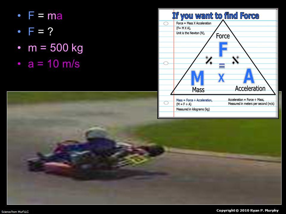 F = ma F = m = 500 kg a = 10 m/s Copyright © 2010 Ryan P. Murphy