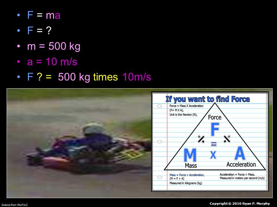 F = ma F = m = 500 kg a = 10 m/s F = 500 kg times 10m/s Copyright © 2010 Ryan P. Murphy