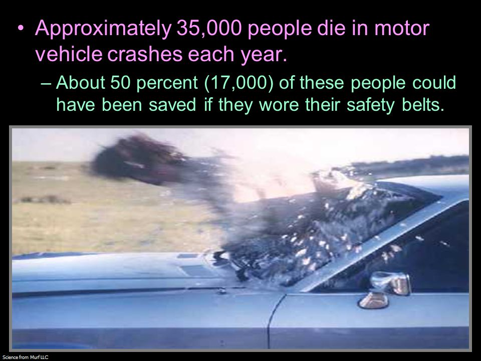 Approximately 35,000 people die in motor vehicle crashes each year.