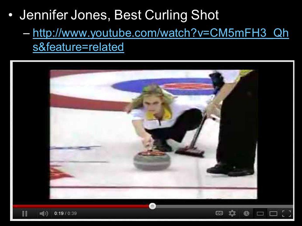 Jennifer Jones, Best Curling Shot –http://www.youtube.com/watch v=CM5mFH3_Qh s&feature=relatedhttp://www.youtube.com/watch v=CM5mFH3_Qh s&feature=related