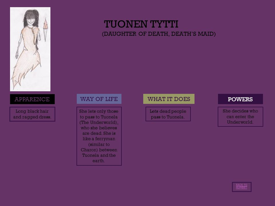 TUONEN TYTTI (DAUGHTER OF DEATH, DEATH'S MAID) POWERS APPARENCE WAY OF LIFEWHAT IT DOES Long black hair and ragged dress.