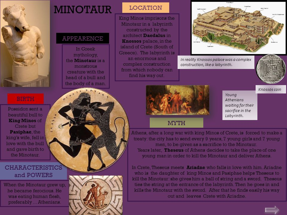APPEARENCE CHARACTERISTICS and POWERS MYTH In Greek mythology, the Minotaur is a monstrous creature with the head of a bull and the body of a man.