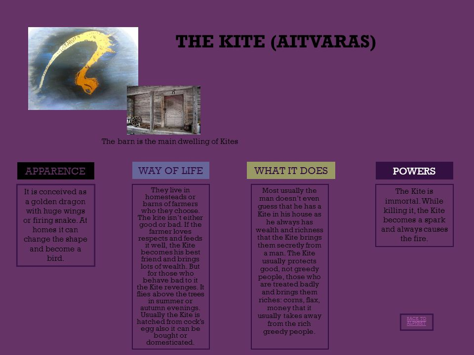THE KITE (AITVARAS) POWERS APPARENCE WAY OF LIFEWHAT IT DOES It is conceived as a golden dragon with huge wings or firing snake.