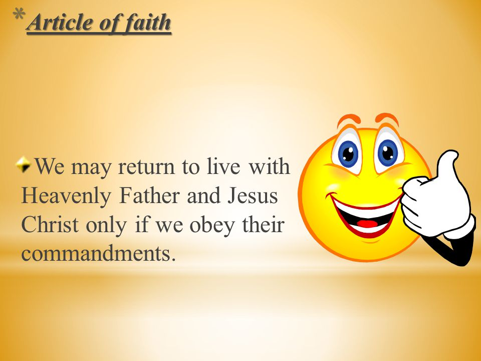 Let's recite the third article of faith.