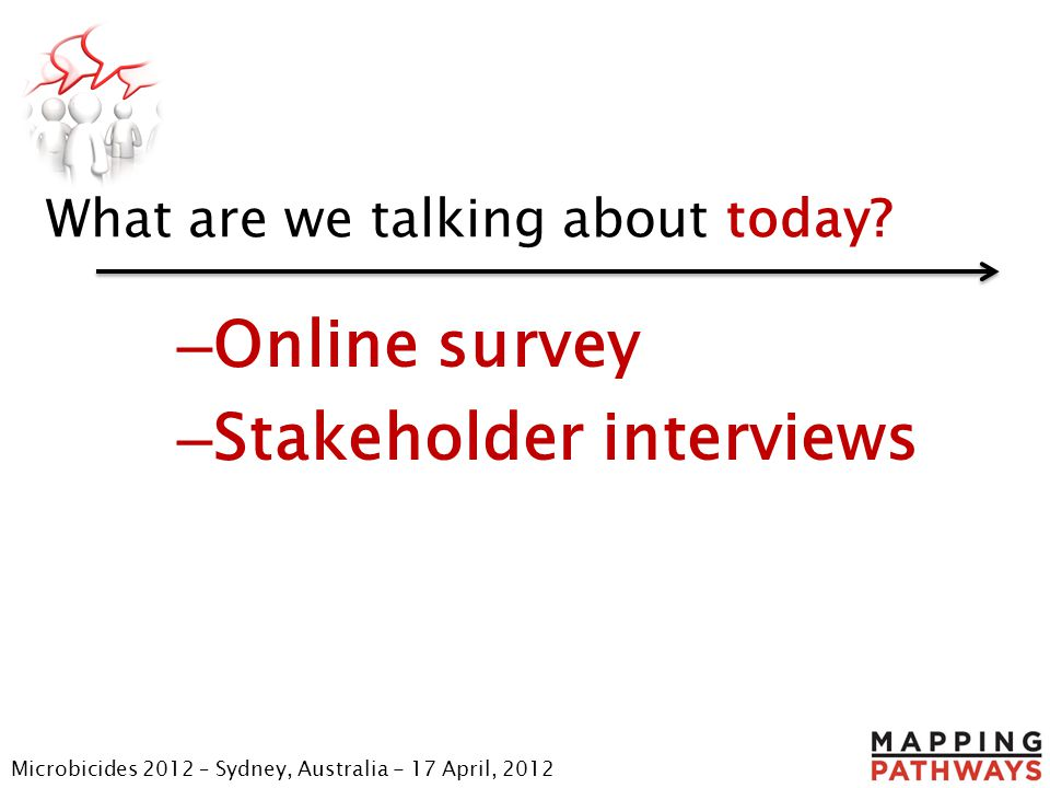 What are we talking about today? – Online survey – Stakeholder interviews Microbicides 2012 – Sydney, Australia - 17 April, 2012