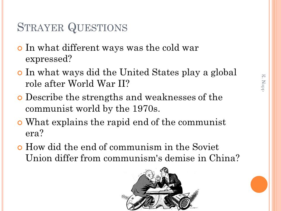 S TRAYER Q UESTIONS In what different ways was the cold war expressed? In what ways did the United States play a global role after World War II? Descr